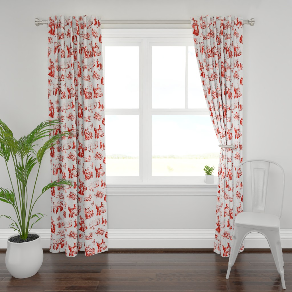 Plymouth Curtain Panel featuring Good Cheer Christmas Toile strawberry 1 by lilyoake