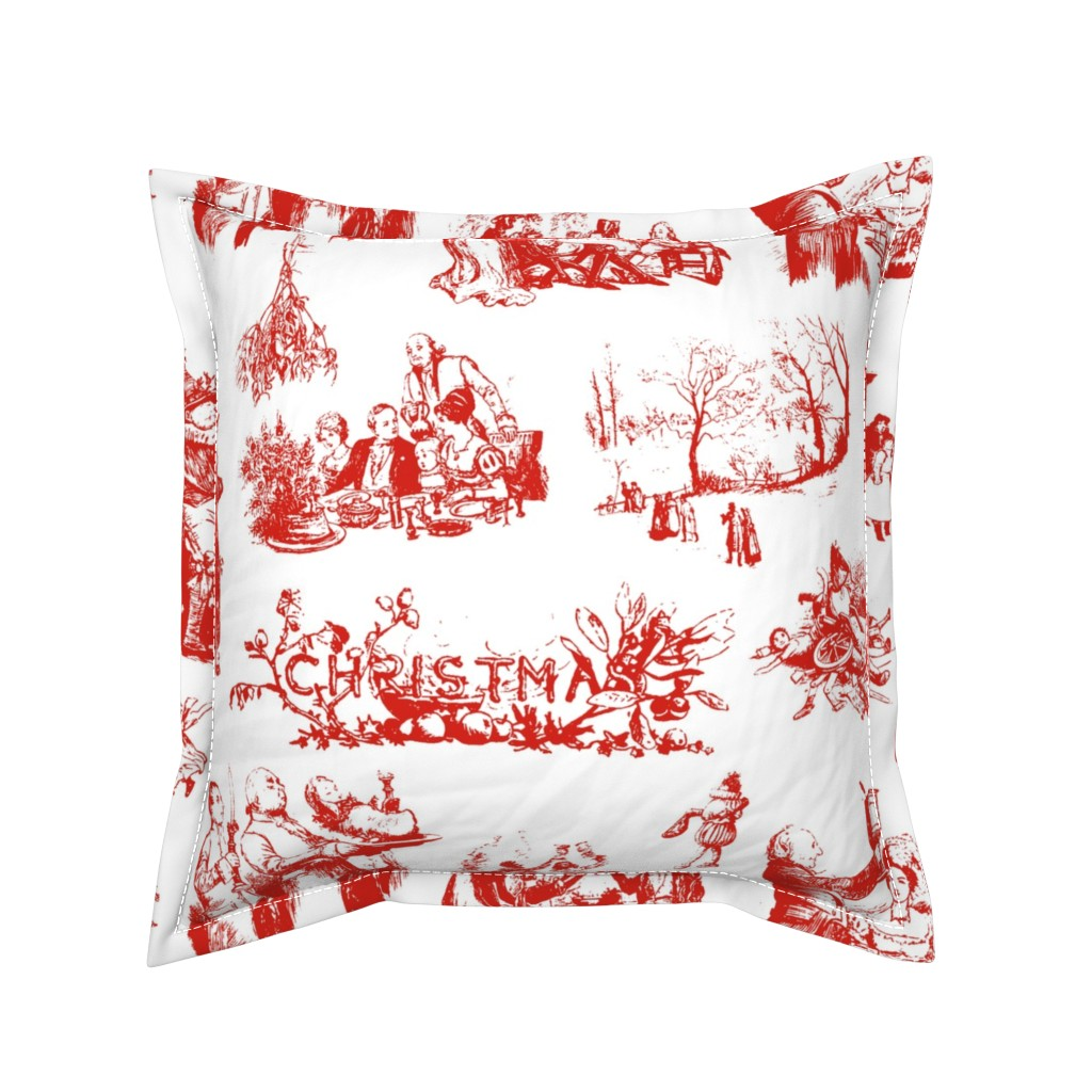 Serama Throw Pillow featuring Good Cheer Christmas Toile strawberry 1 by lilyoake