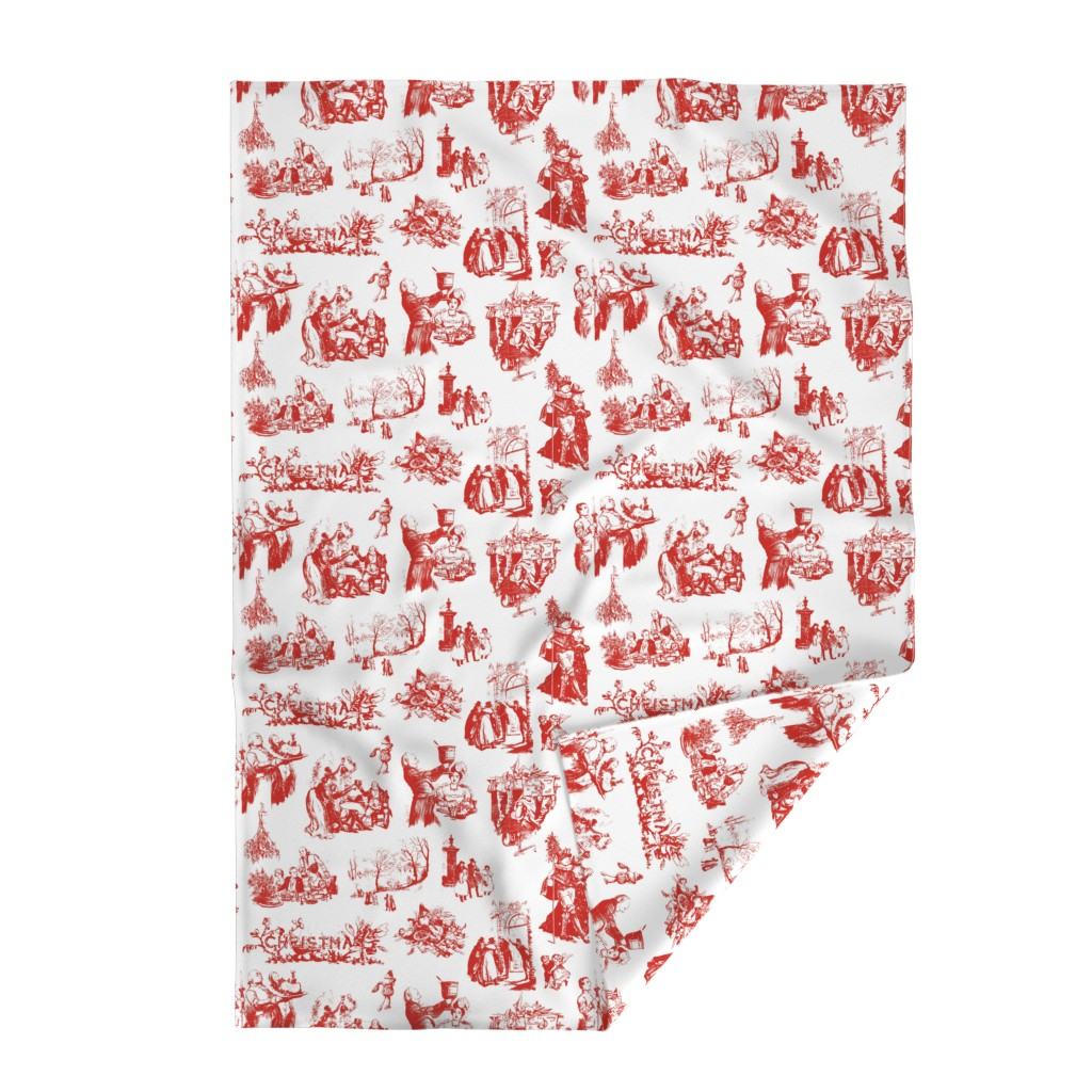 Lakenvelder Throw Blanket featuring Good Cheer Christmas Toile strawberry 1 by lilyoake