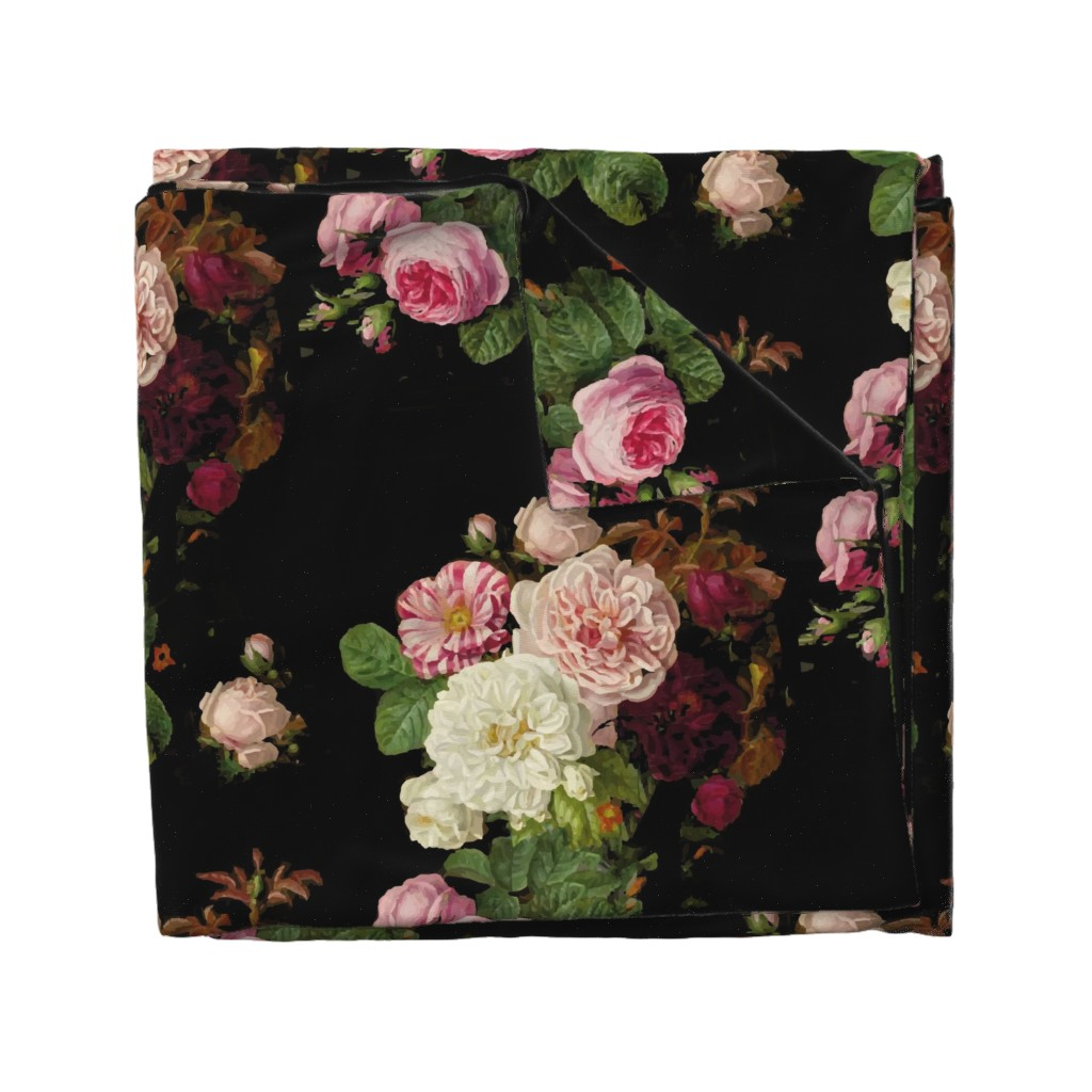 Wyandotte Duvet Cover featuring Dark Floral Black roses on black moody floral JUMBO size by jenlats