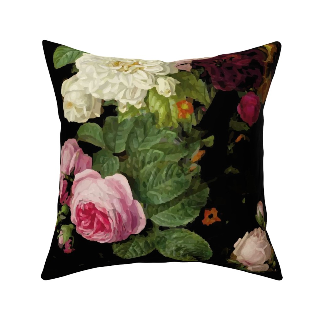 Catalan Throw Pillow featuring Dark Floral Black roses on black moody floral JUMBO size by jenlats