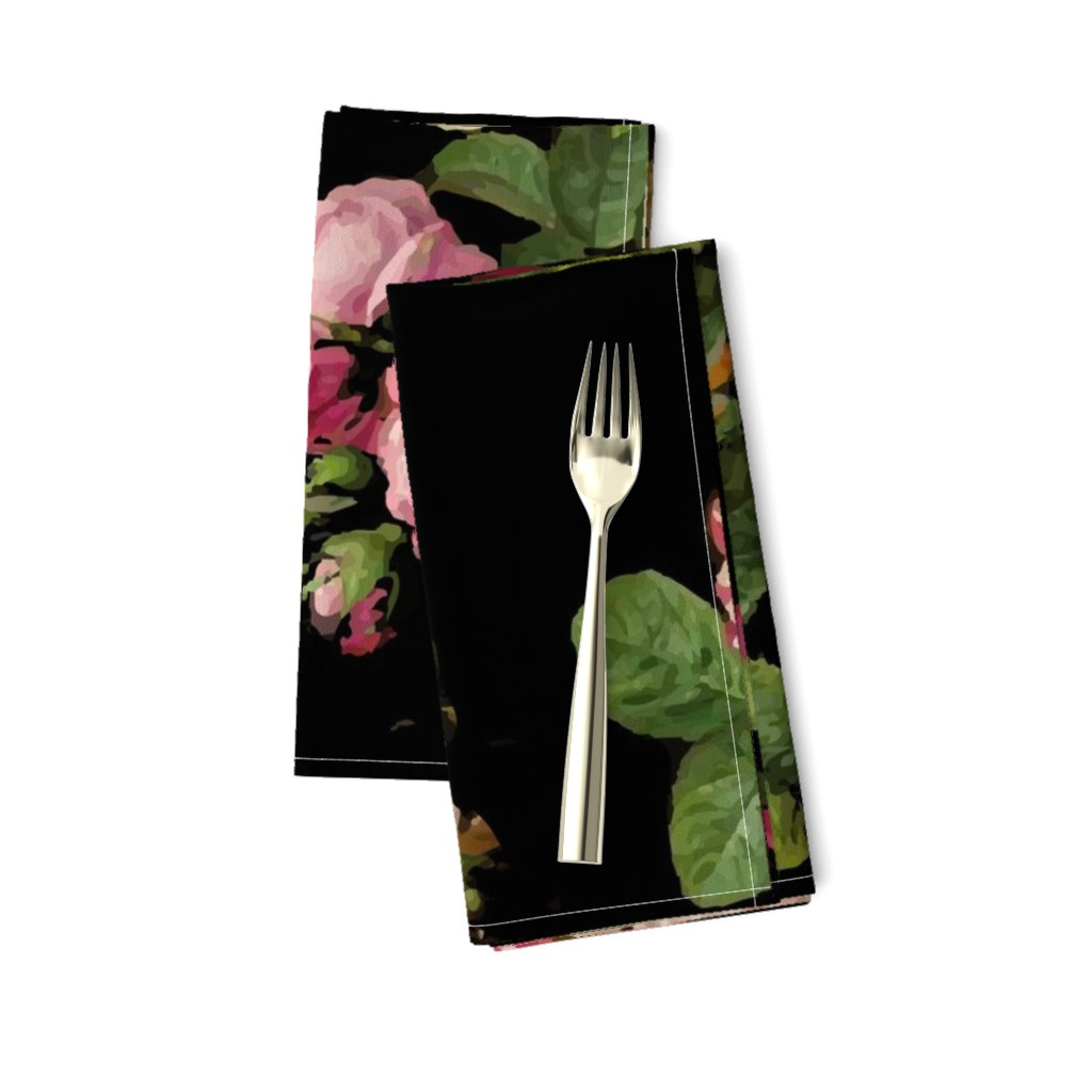 Amarela Dinner Napkins featuring Dark Floral Black roses on black moody floral JUMBO size by jenlats