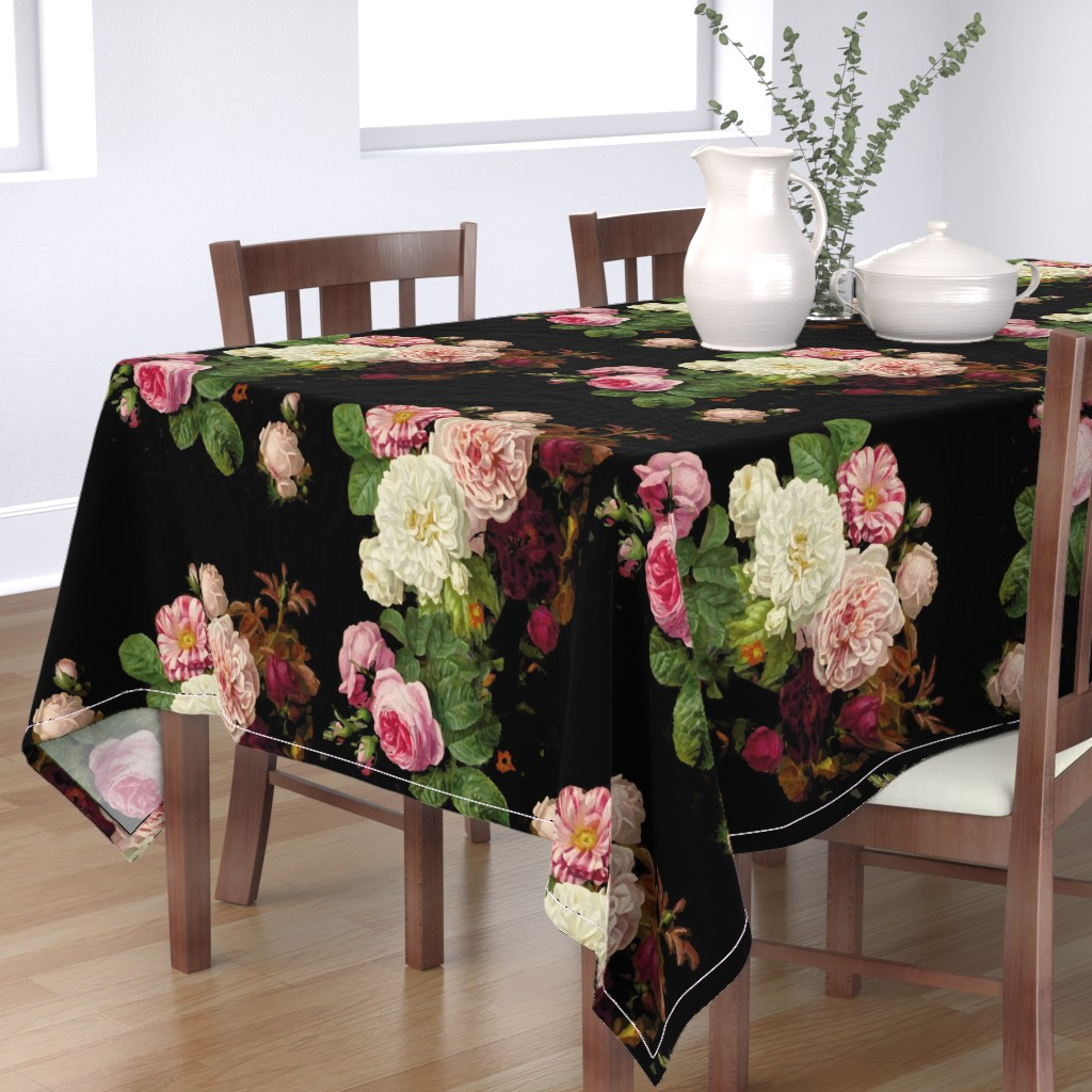 Bantam Rectangular Tablecloth featuring Dark Floral Black roses on black moody floral JUMBO size by mlags