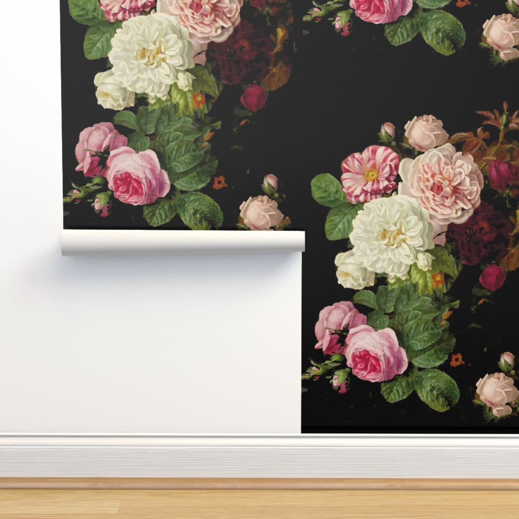 Isobar Durable Wallpaper featuring Dark Floral Black roses on black moody floral JUMBO size by jenlats