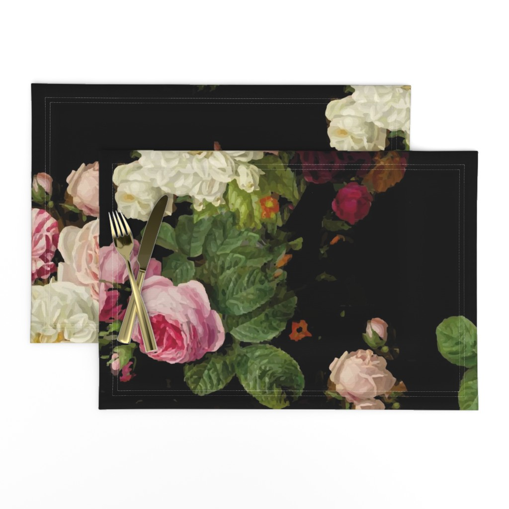 Lamona Cloth Placemats featuring Dark Floral Black roses on black moody floral JUMBO size by mlags