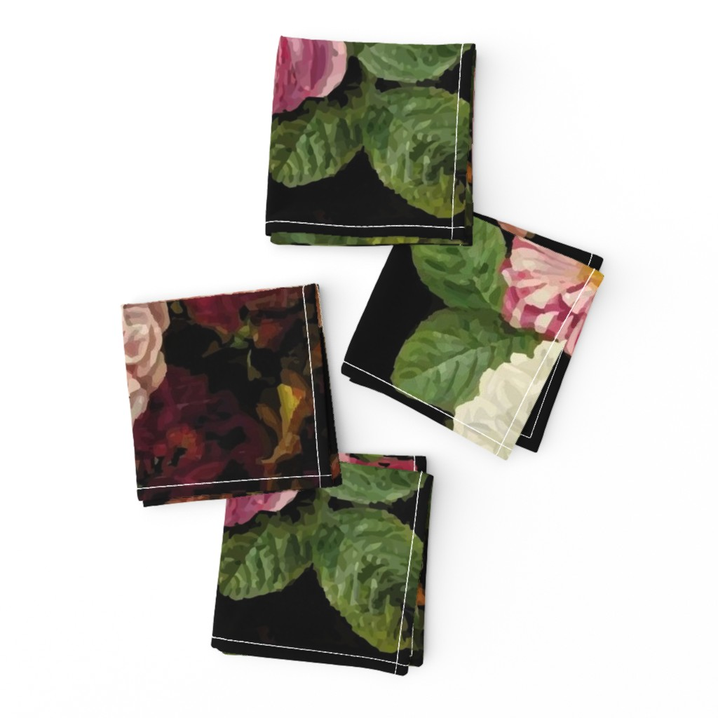 Frizzle Cocktail Napkins featuring Dark Floral Black roses on black moody floral JUMBO size by jenlats
