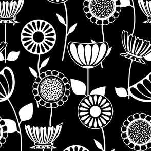 Black and White Flower Power - Mid Century Scandinavian Art