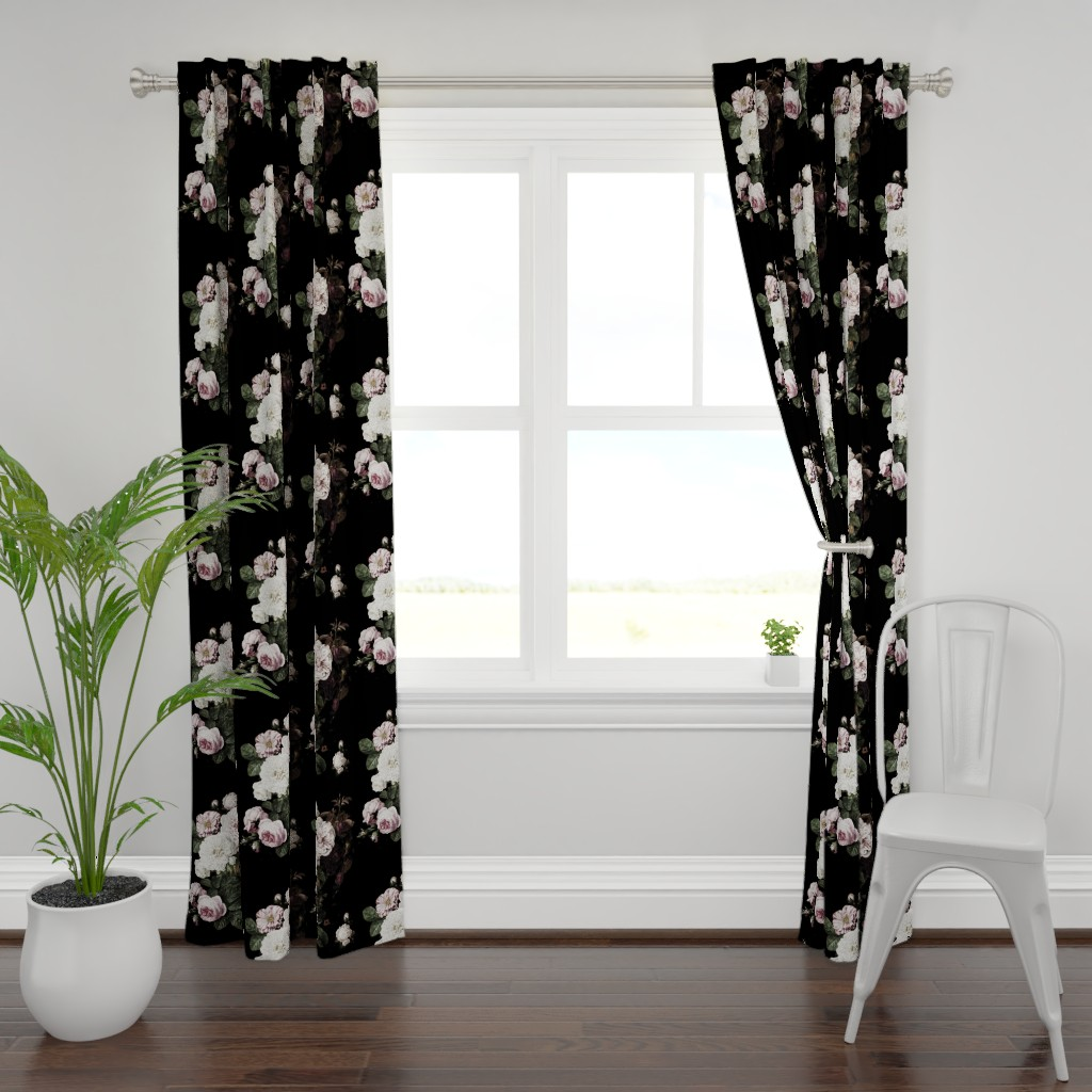 Plymouth Curtain Panel featuring Vintage roses jumbo scale dark moody floral black by mlags