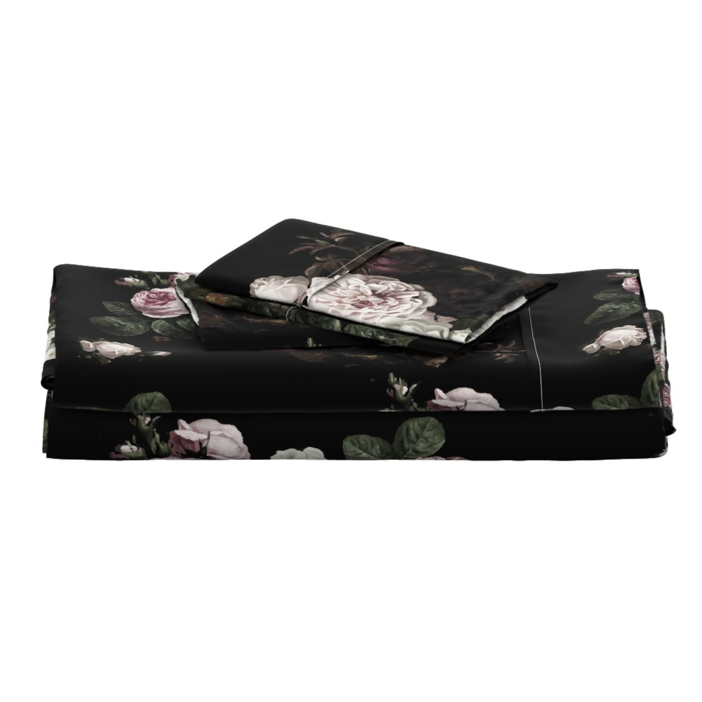 Langshan Full Bed Set featuring Vintage roses jumbo scale dark moody floral black by jenlats