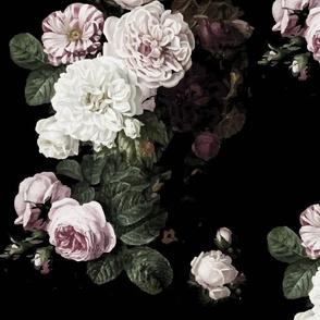 Vintage roses jumbo scale dark moody floral black