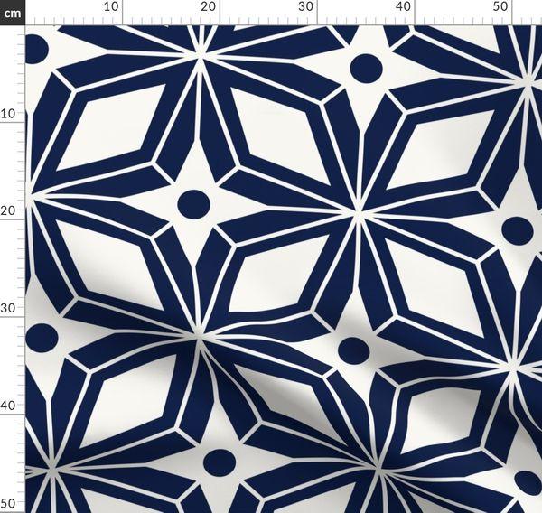 Set of 2 Vintage Inspired  Cloth Napkins by Spoonflower - Midcentury Geometric Blue by heatherdutton Retro Diamond Dinner Napkins