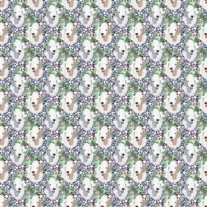 Small Floral Bedlington Terrier portraits
