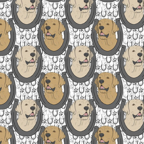 Yellow Labrador Retriever horseshoe portraits