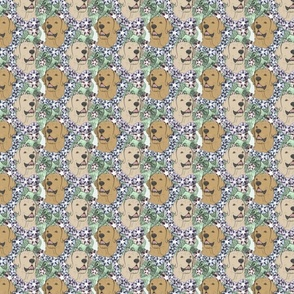 Floral yellow Labrador Retriever portraits - small