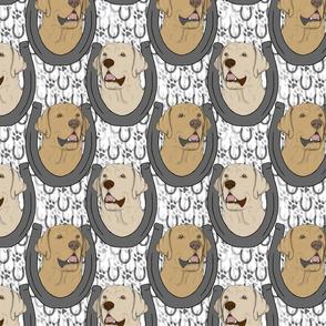 Yellow Labrador Retriever horseshoe portraits B