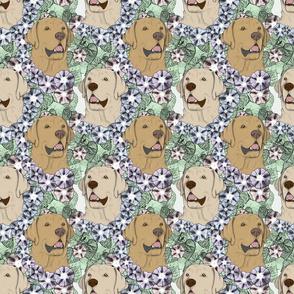 Floral yellow Labrador Retriever portraits B