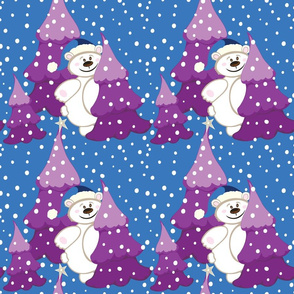Christmas Bear, Purple, blue and white