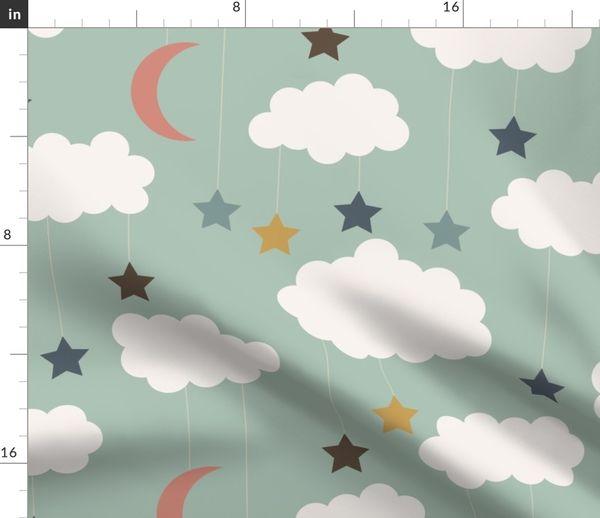 Stoff-Meterware Wolken, Kinderzimmer, blau, Mond, Himmel, Tapete, Stern,  Kindergarten