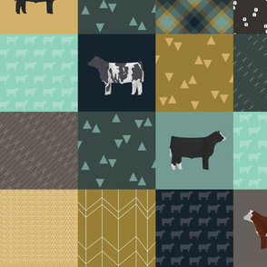 LARGE - Steer Cheater Quilt - Teal