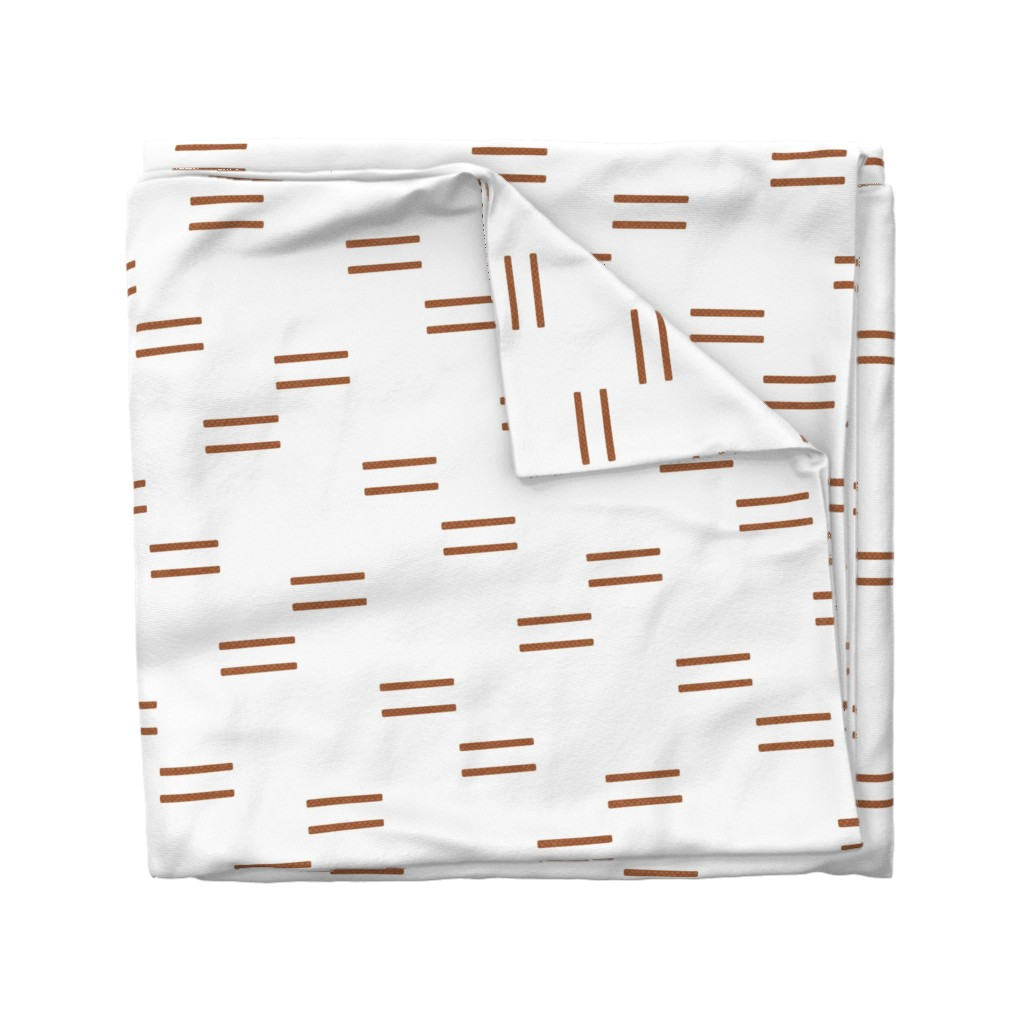 Wyandotte Duvet Cover featuring (jumbo scale) double dash - rust on white C18BS by littlearrowdesign