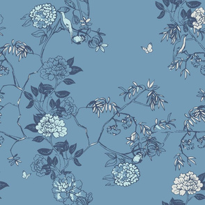 Chinoiserie Floral in China blue