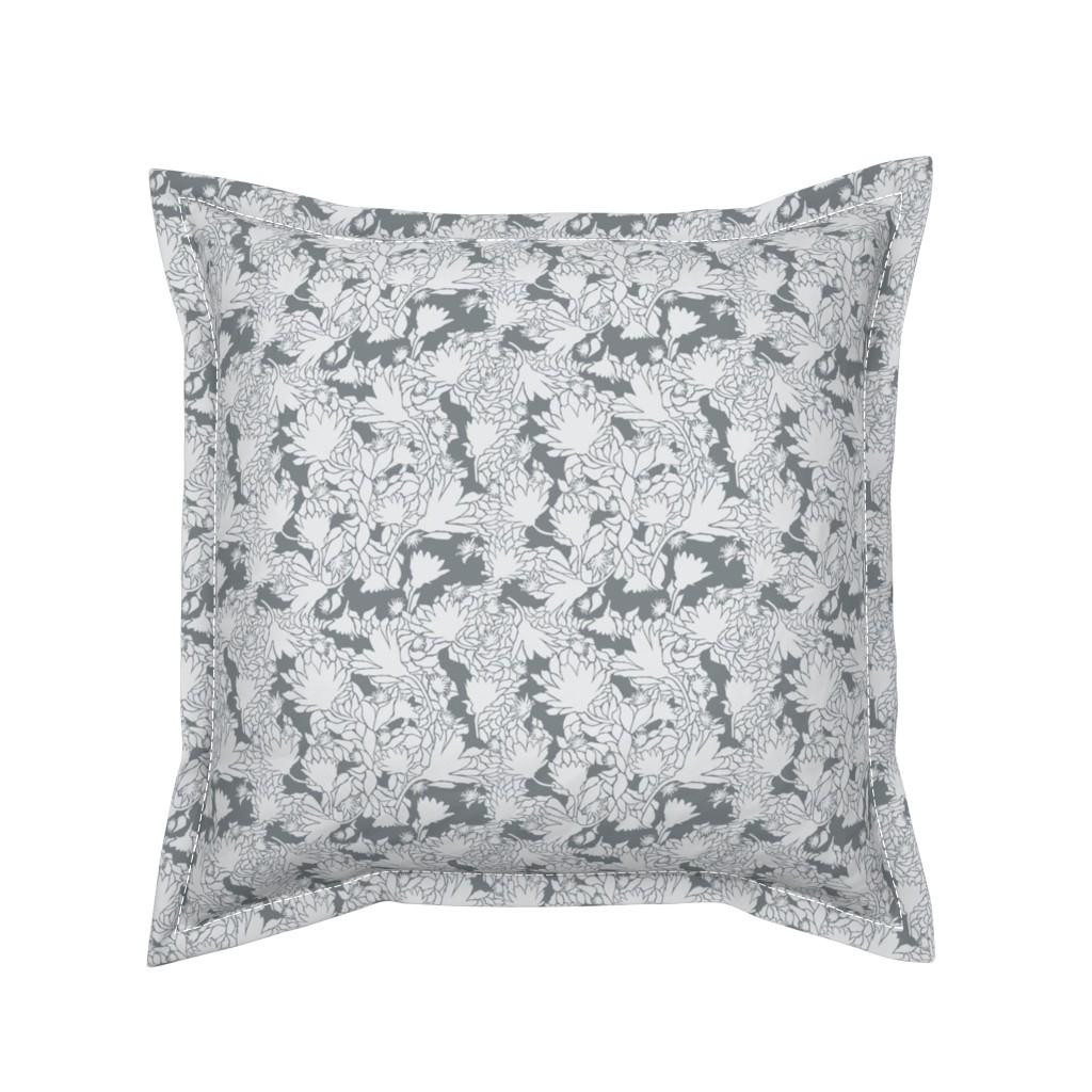 Serama Throw Pillow featuring Wedding-Flowers-Leaves-Sillihoutte by faithdesigns