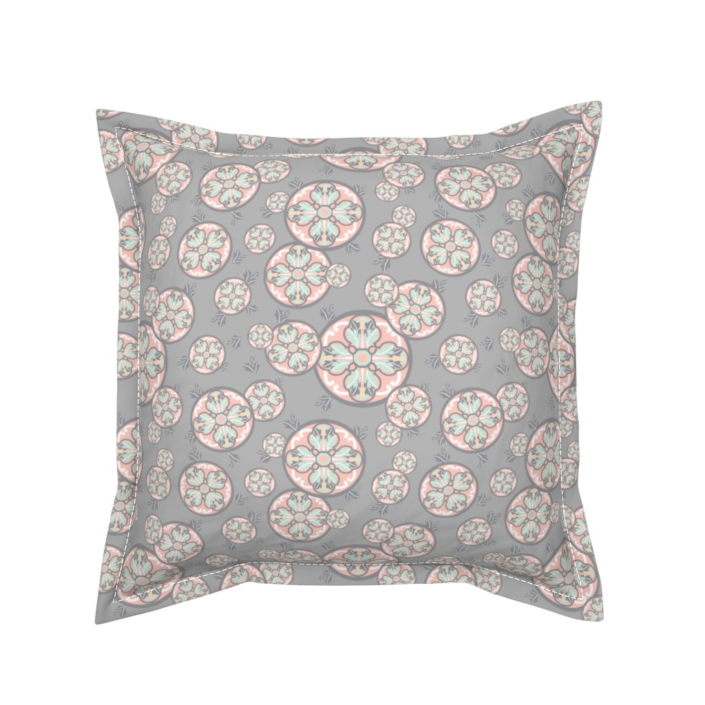 Serama Throw Pillow featuring Floral Circle and Leaves Motif by faithdesigns