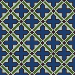 Moroccan tile in moss and slate blue