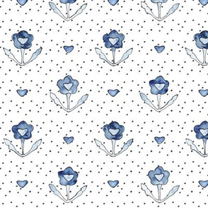 Vintage lovely flowers with polka dot