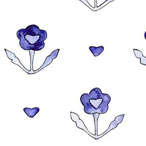 Watercolor vintage flowers, brighter periwinkle blue