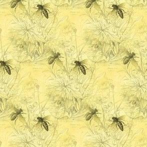 1840s Bees on Beeswax Yellow | Bee Dance