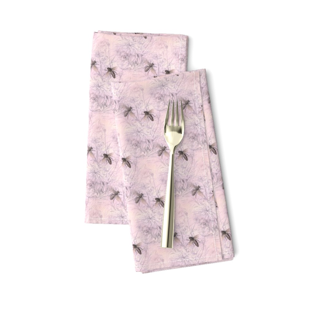 Amarela Dinner Napkins featuring 1840s Bees on Petal | Pink Morning by lochnestfarm