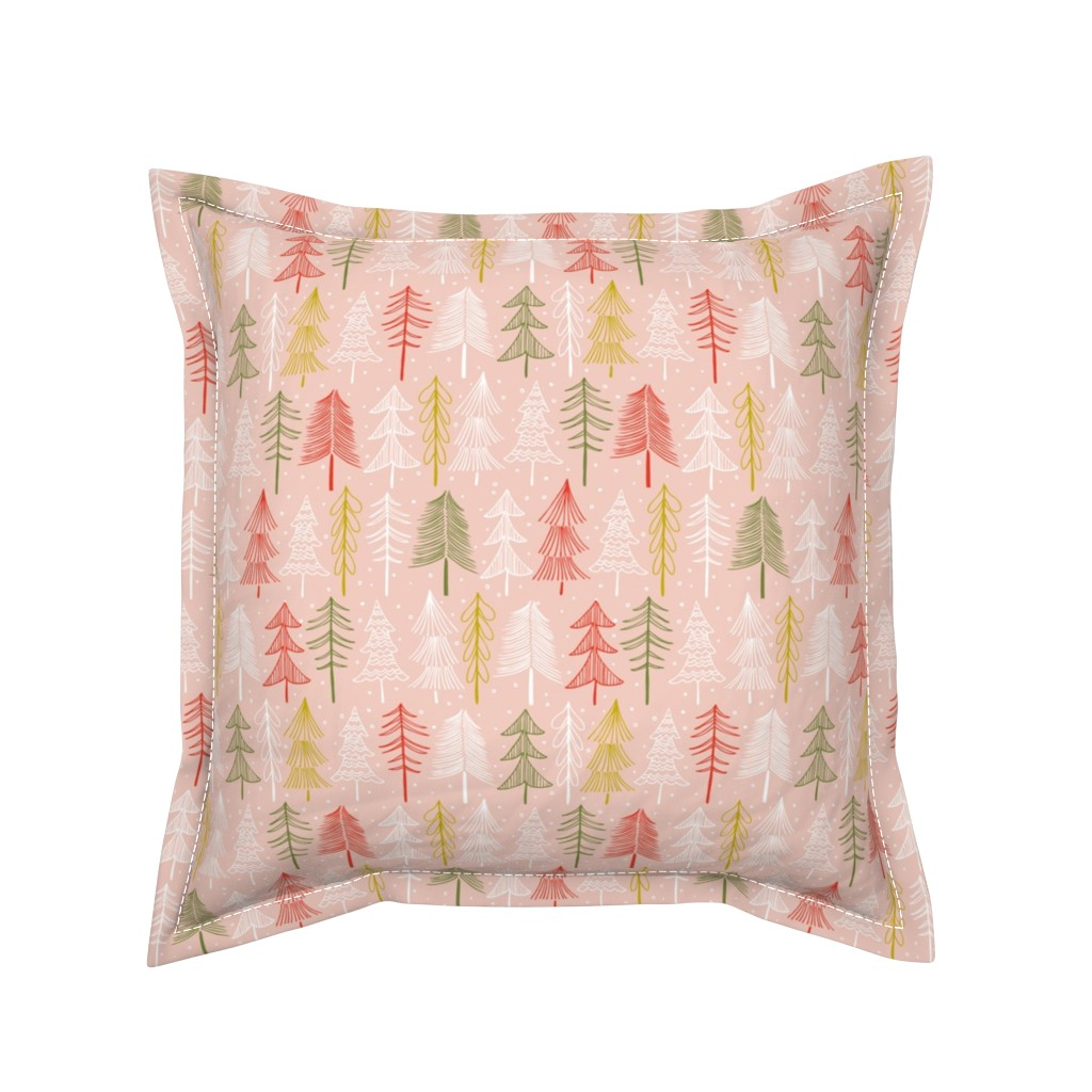 Serama Throw Pillow featuring Oh' Christmas Tree - Blush Pink by heatherdutton