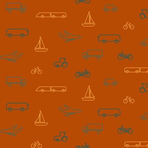 limited color transportation pattern-red-small
