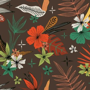 bright tropical floral pattern on brown