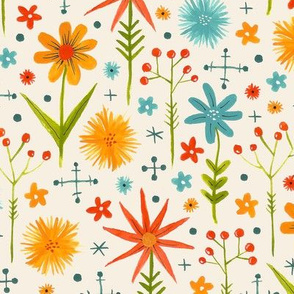 bright fun colorful floral pattern