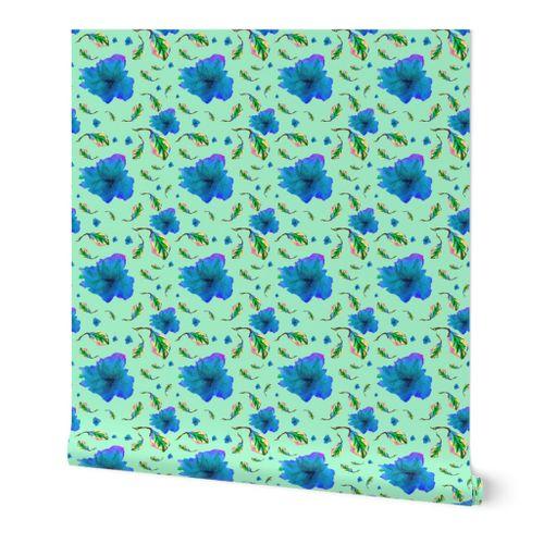 Jardin Multicolor Resumen Amarillo Azul Botanico Hojas Floral Las Flores Rosado Plantas Spoonflower