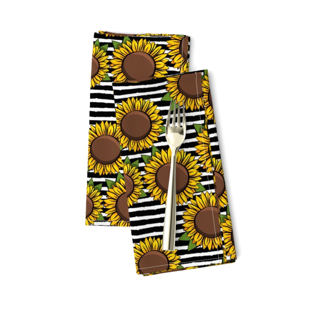 Amarela Dinner Napkins featuring Sunflowers - black stripes by littlearrowdesign