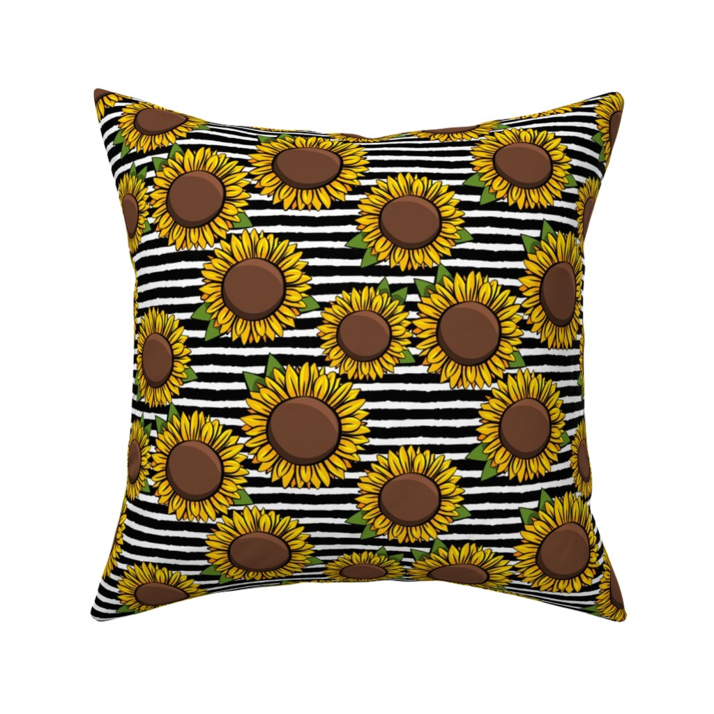 Catalan Throw Pillow featuring Sunflowers - black stripes by littlearrowdesign