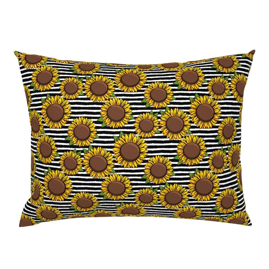 Campine Pillow Sham featuring Sunflowers - black stripes by littlearrowdesign