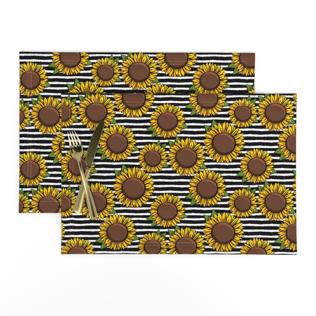Lamona Cloth Placemats featuring Sunflowers - black stripes by littlearrowdesign