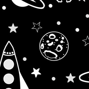 Space Pattern Black and White