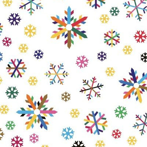 colorful snowflakes, tossed