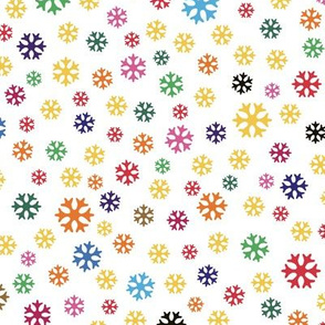 colorful snowflakes on white, small