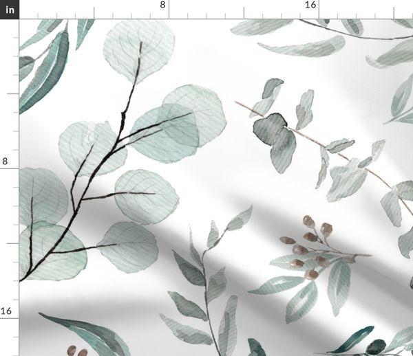 Fabric By The Yard Jumbo Botanical Wallpaper Eucalyptus Australian Native Edition 1 Large Scale Wallpaper