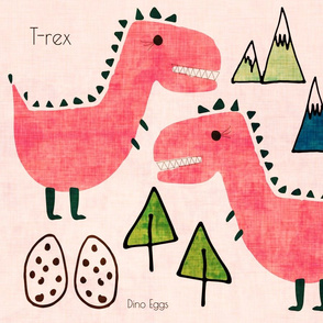 T-rex Cut and Sew text pink