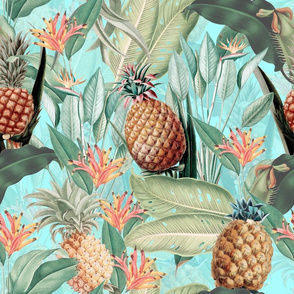 """18"""" Pierre-Joseph Redouté-Fruit Cocktail,Antique Tropical Palm Jungle with Banana and Pineapple,teal"""