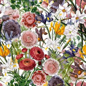 "18"" Pierre-Joseph Redouté - Iris Flowers Bouquets on white"
