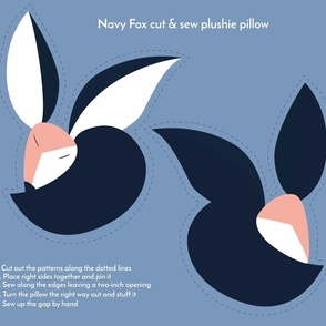 navy fox cut and sew plushie pillow