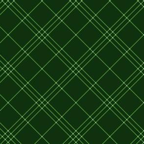 "Jacobite coat tartan, 6"" diagonal repeat  - green with white stripes"